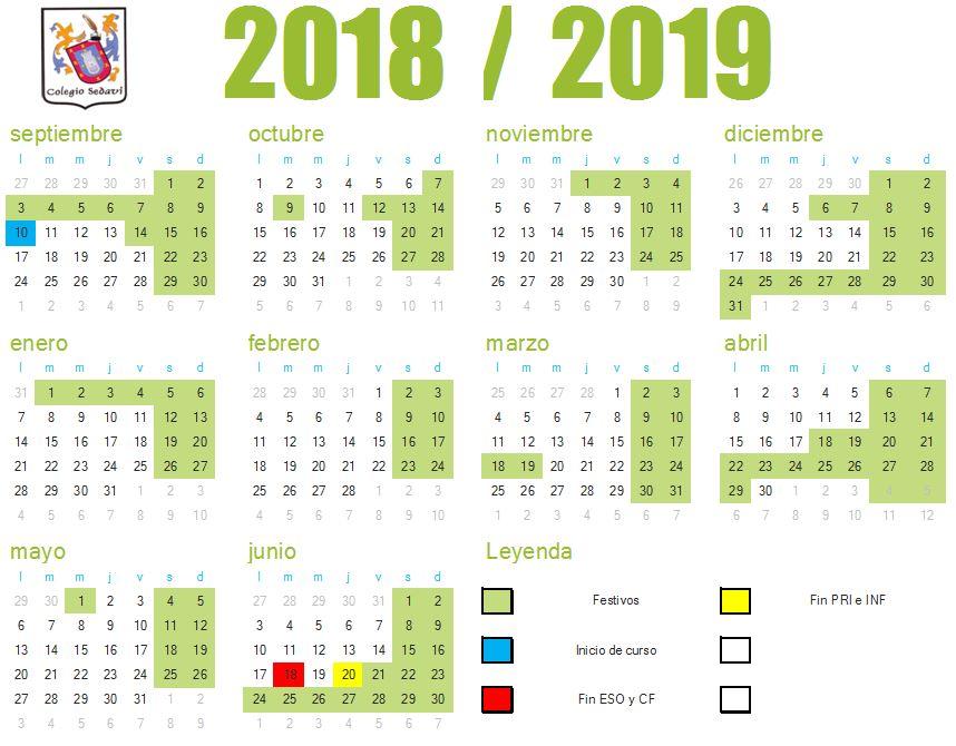 Calendario Escolar 1819.Calendario Escolar 2018 19 Fp Colegio Sedavi